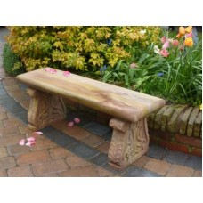 Teakwood Sandstone Colwall Bench with Carved Legs