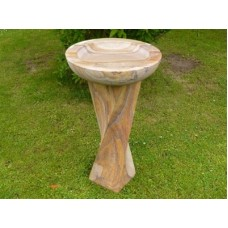 Rainbow Sandstone Birdbath - RoundTop, Twisted Base