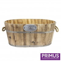 Wide Wooden Barrel Basket Planter