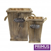 Square 2 Piece Wooden Planters